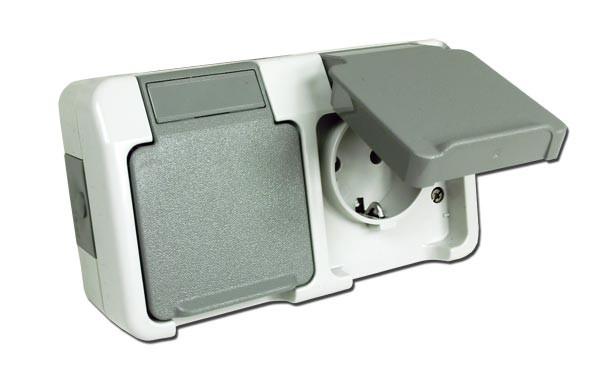 merten aquastar 239739 schuko dreifach steckdose lichtgrau gelb 871 ebay. Black Bedroom Furniture Sets. Home Design Ideas