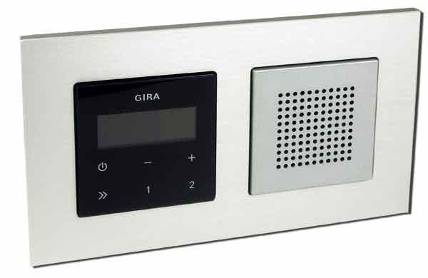 gira unterputz radio rds mit lautsprecher und rahmen alu schwarz ebay. Black Bedroom Furniture Sets. Home Design Ideas