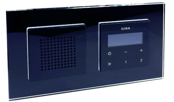 gira unterputz radio rds mit lautsprecher und rahmen glasoptik schwarz schwar ebay. Black Bedroom Furniture Sets. Home Design Ideas