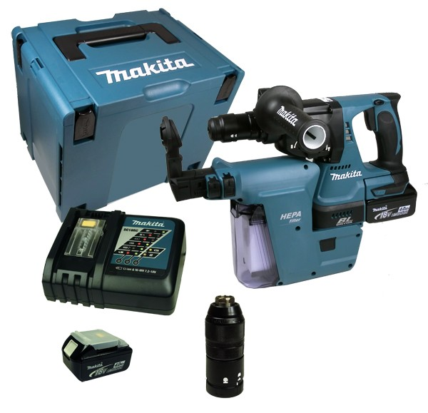 makita dhr 243 rmjv akku kombihammer 18v 4 0 ah inkl absaugung ebay. Black Bedroom Furniture Sets. Home Design Ideas