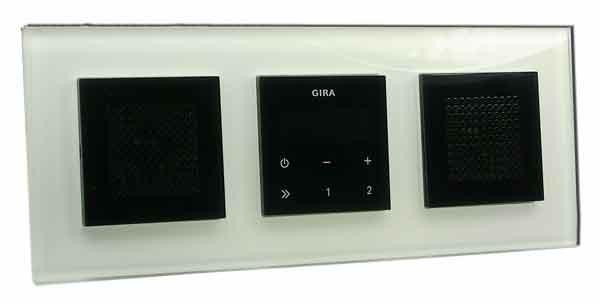 gira unterputz radio rds mit lautsprecher und rahmen glasoptik wei schwarz stereo. Black Bedroom Furniture Sets. Home Design Ideas