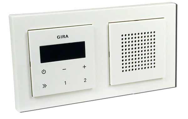 gira unterputz radio rds mit lautsprecher und rahmen reinwei gl nzend heimwerker haus. Black Bedroom Furniture Sets. Home Design Ideas
